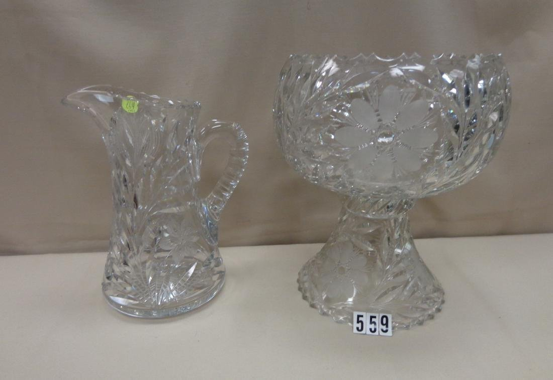 (2 PIECES) 12 INCH CUT GLASS PUNCH BOWL