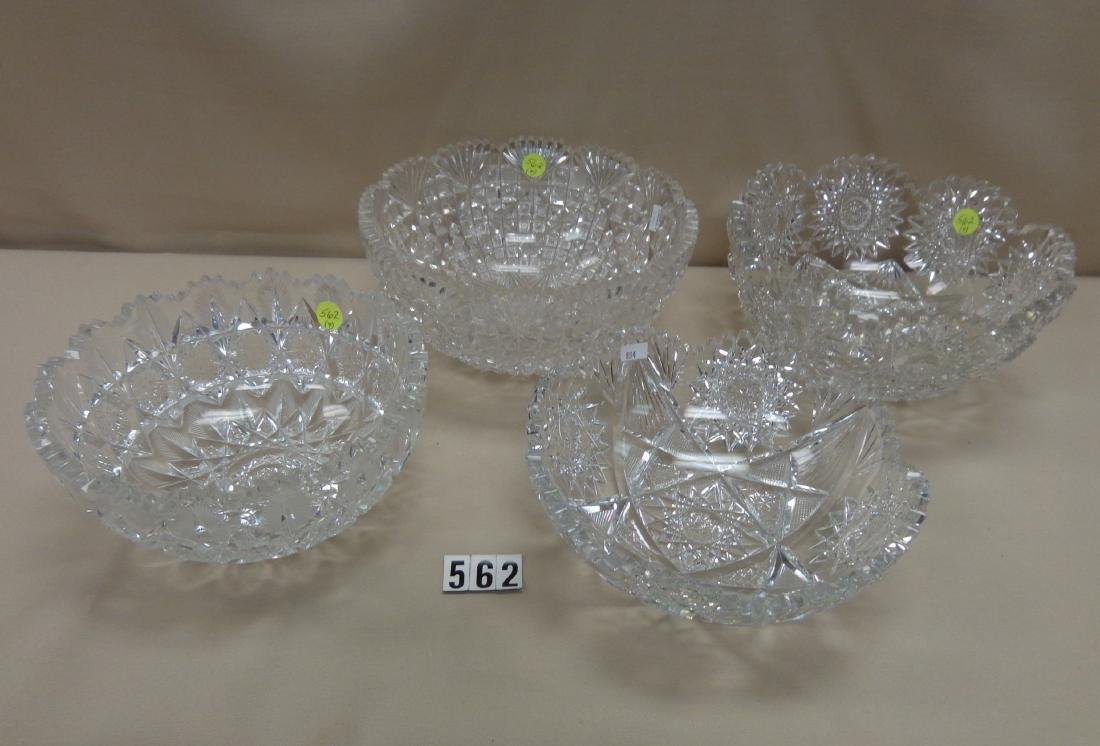 (4) CUT GLASS BOWLS: