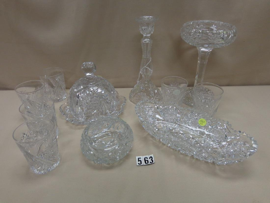(11 PIECES) CUT GLASS LOT: