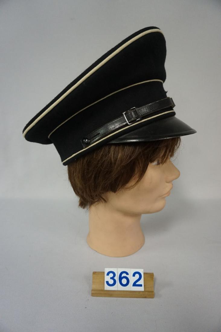 BLACK GABARDINE WOOL EM VISOR HAT, - 2