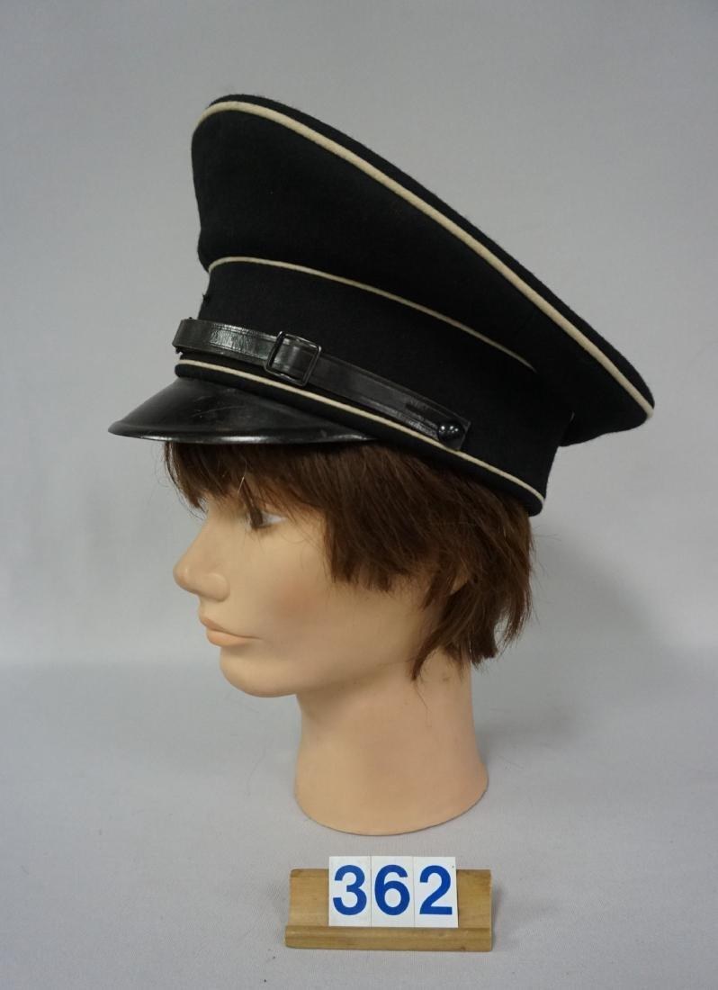 BLACK GABARDINE WOOL EM VISOR HAT, - 3