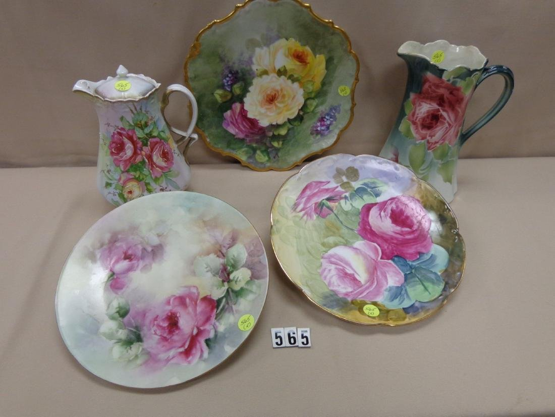 (5 PIECES) HANDPAINTED CHINA 'ROSES',