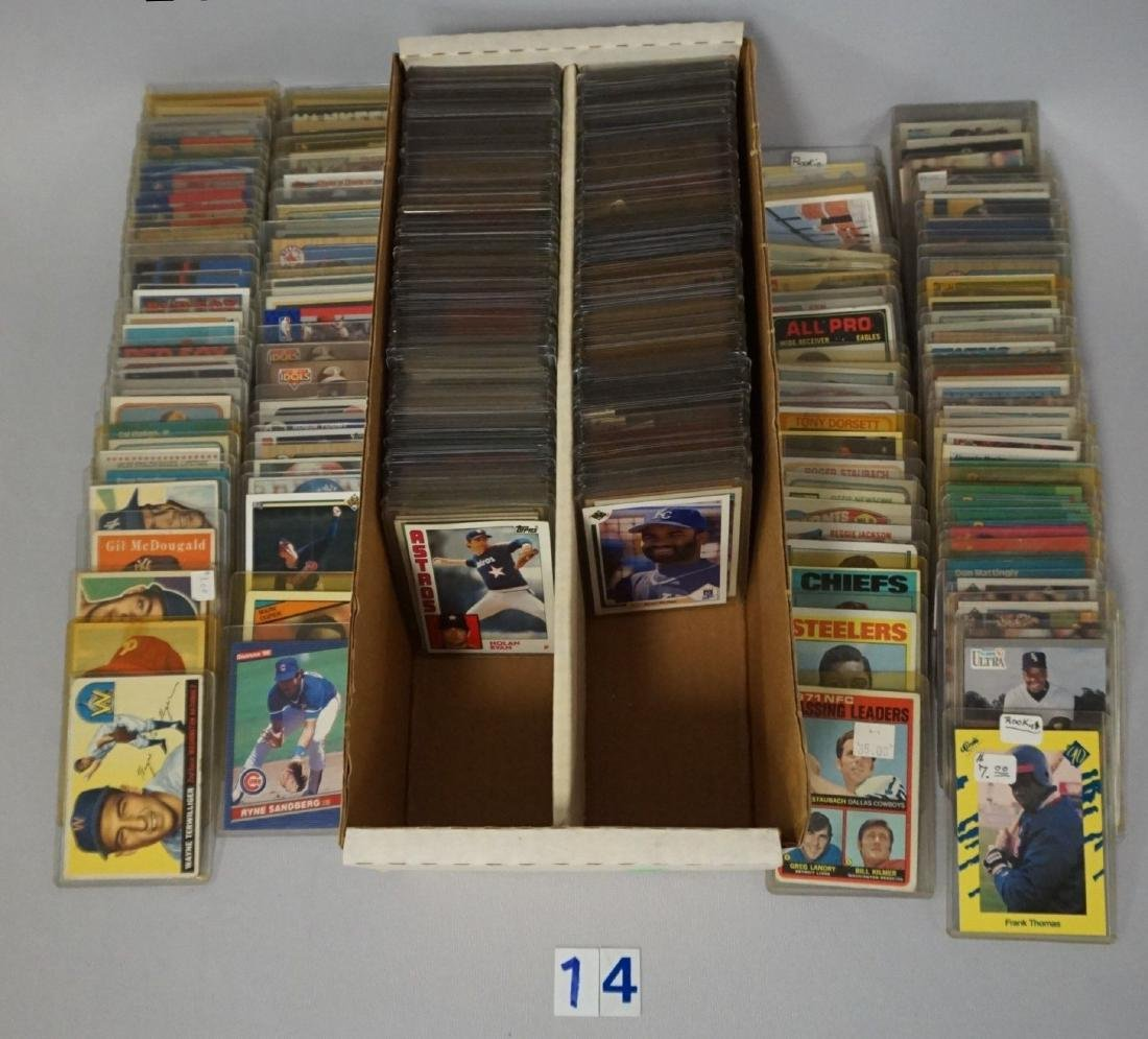 TWO-ROW BOX OF SPORTS CARDS
