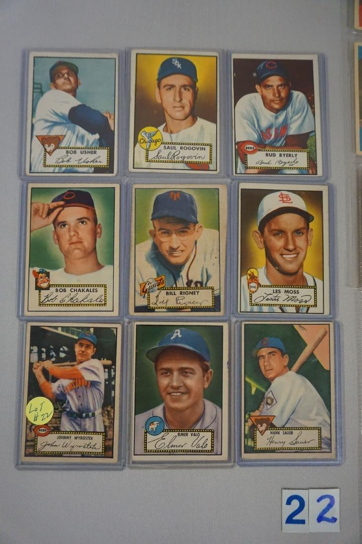 (9 DIFF.) 1952 TOPPS BASEBALL CARDS - 2