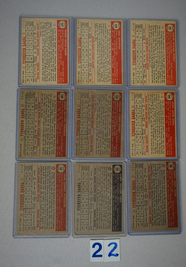 (9 DIFF.) 1952 TOPPS BASEBALL CARDS - 4