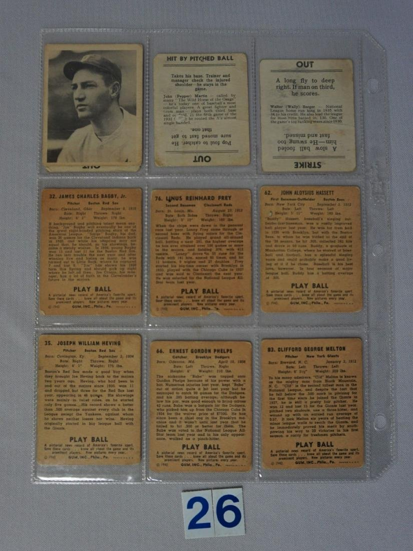 LOT: (3) 1936 GOUDEY GAME CARDS - POOR, - 3