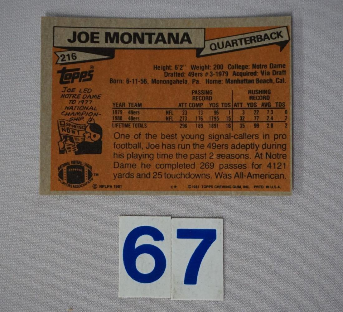 1981 TOPPS #216 JOE MONTANA (R) - 2
