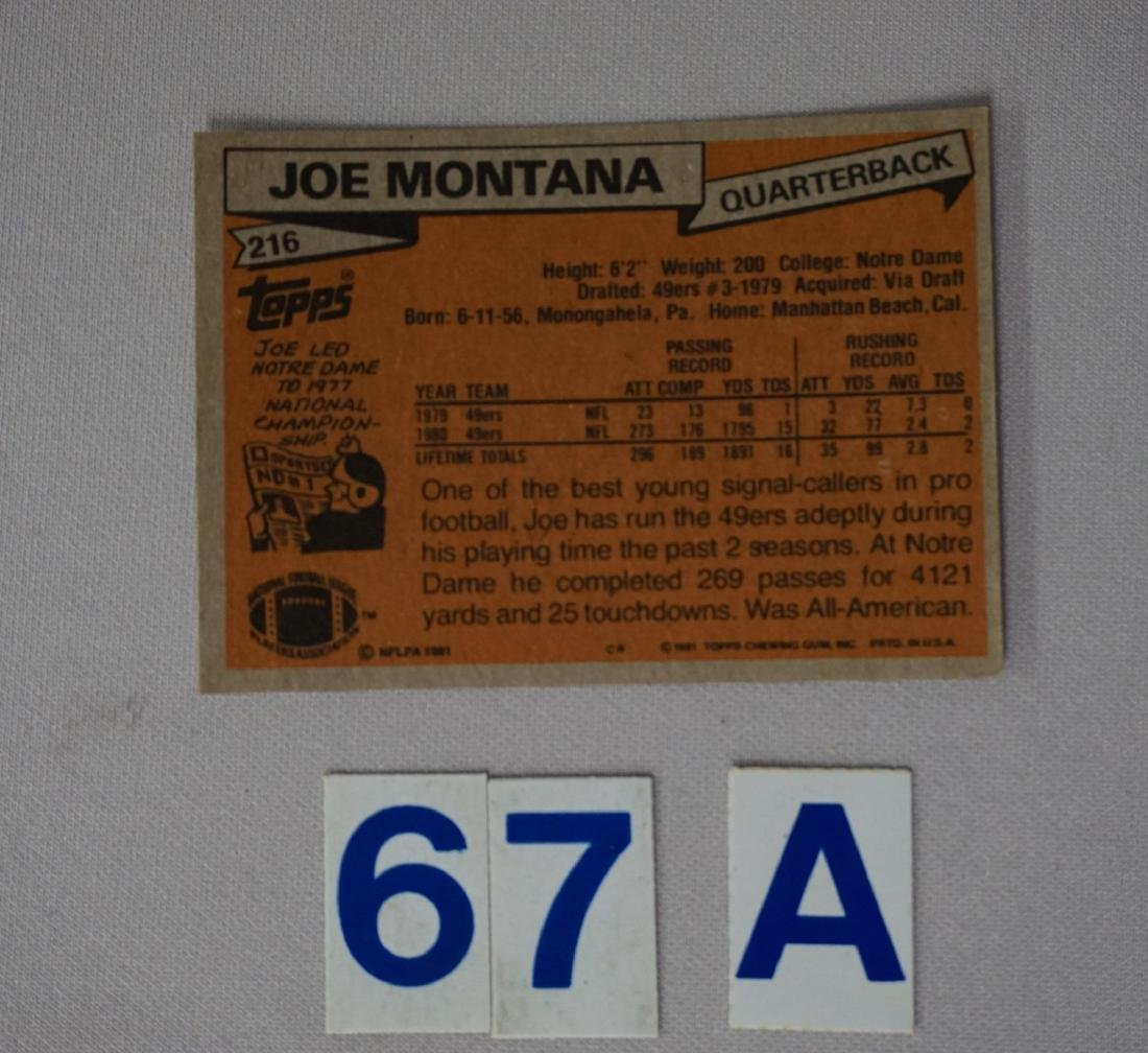 1981 TOPPS #216 JOE MONTANA (R) - O/C - 2