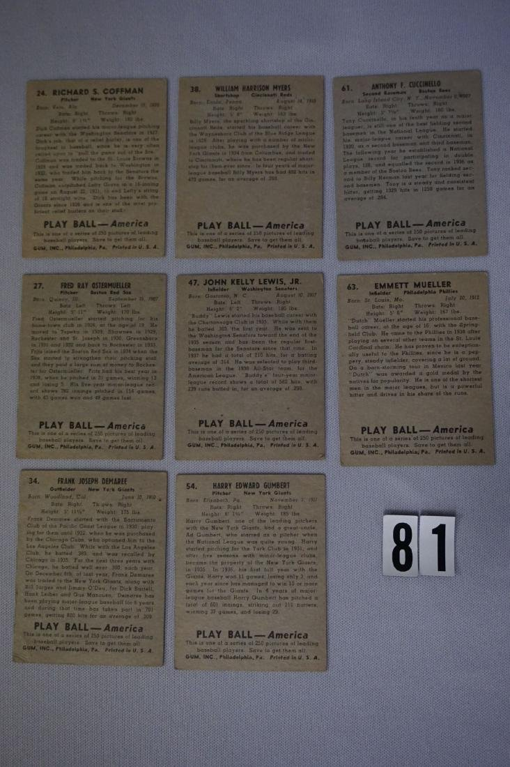 (8) 1939 PLAY BALL BASEBALL CARDS - 3