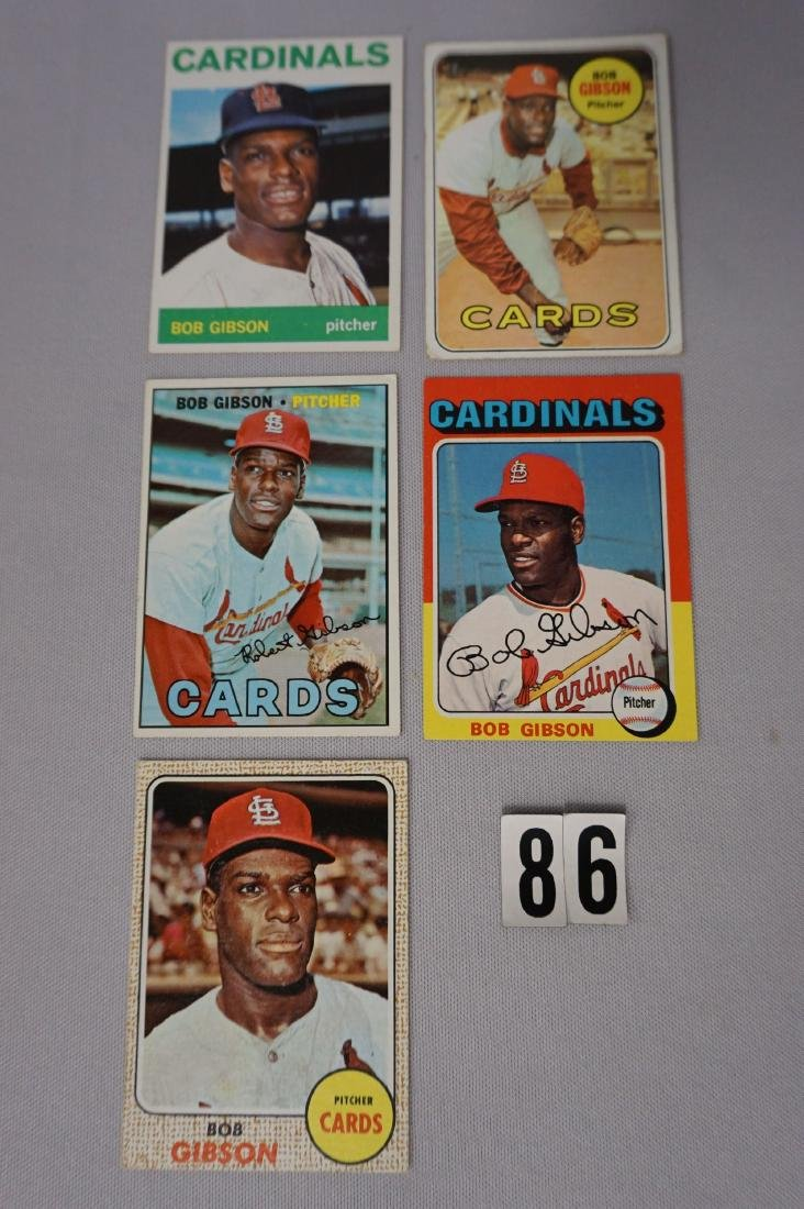 (5) BOB GIBSON BASEBALL CARDS: