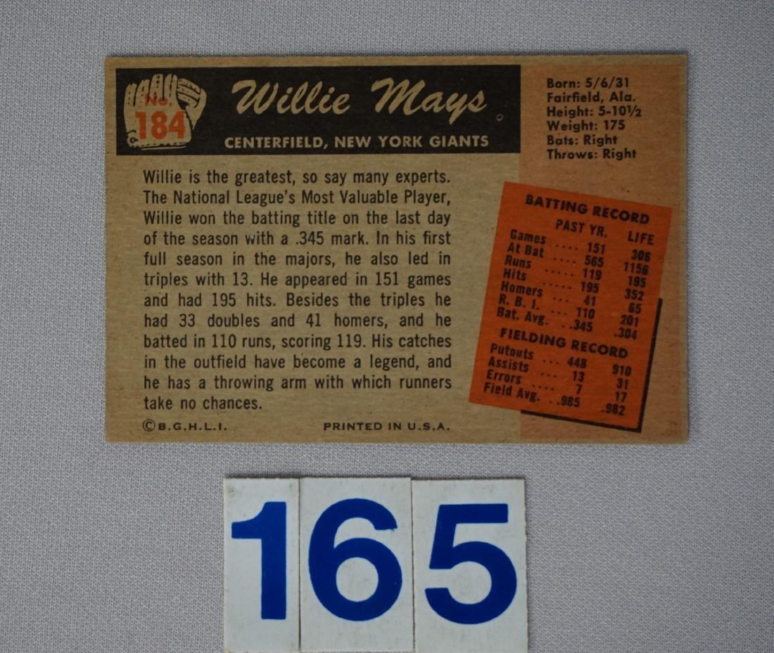 1955 BOWMAN #184 WILLIE MAYS - 2
