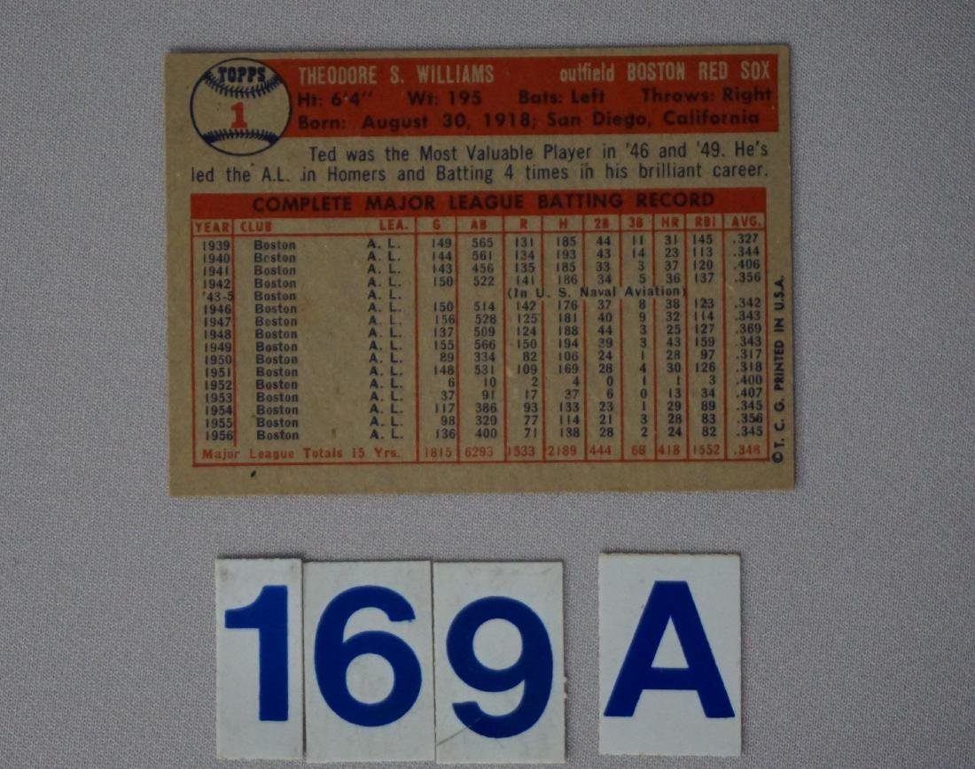 1957 TOPPS #1 TED WILLIAMS - 2