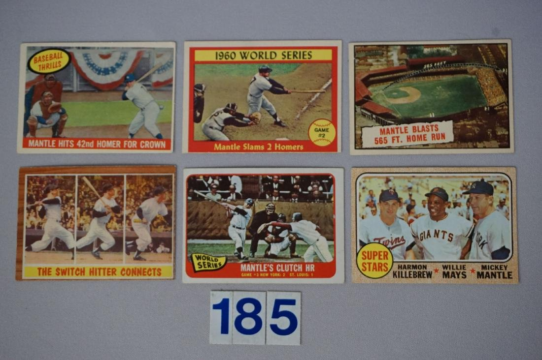 (6 DIFF.) MICKEY MANTLE CARDS: