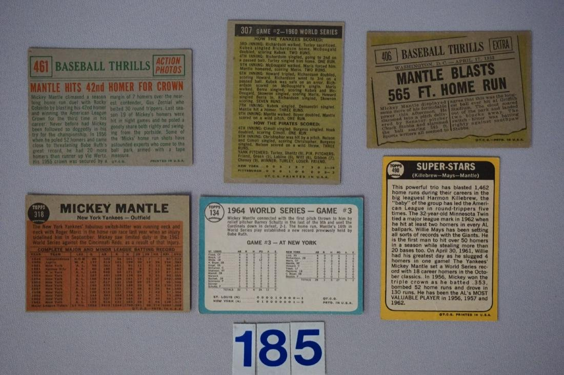(6 DIFF.) MICKEY MANTLE CARDS: - 2