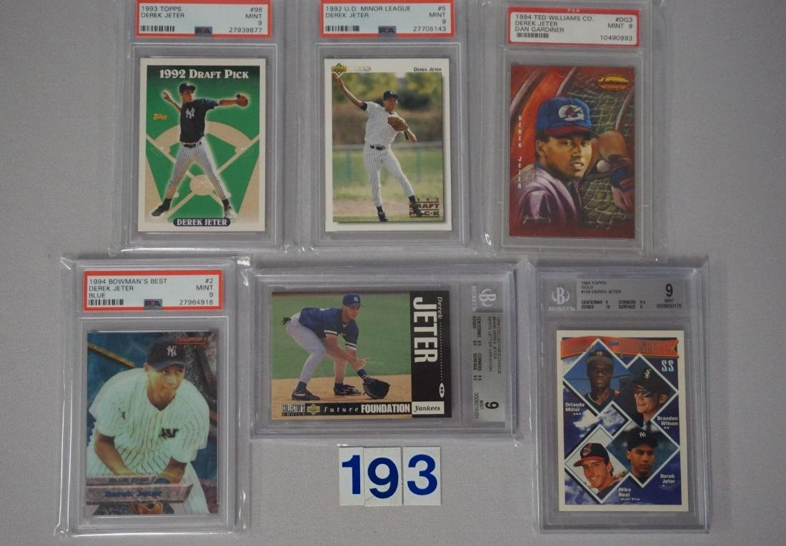 (27) CARD LOT OF DEREK JETER GRADED - 6
