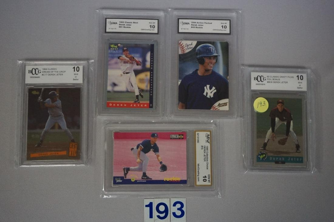 (27) CARD LOT OF DEREK JETER GRADED - 8