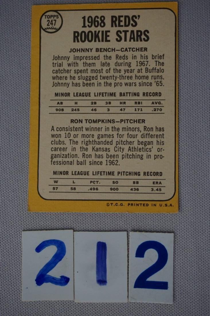 1968 TOPPS #247 (R) JOHNNY BENCH - 2