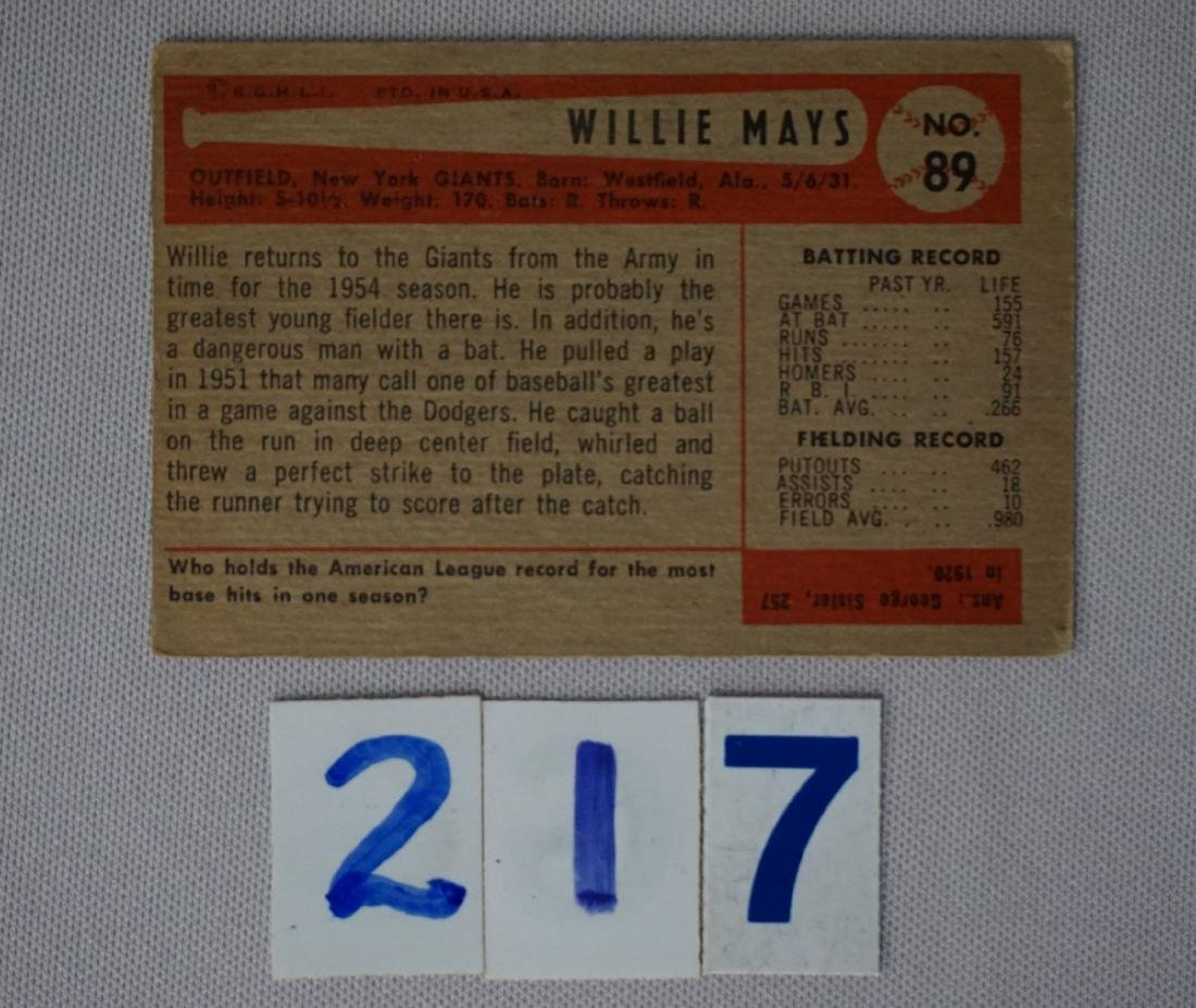 1954 BOWMAN #89 WILLIE MAYS - 2