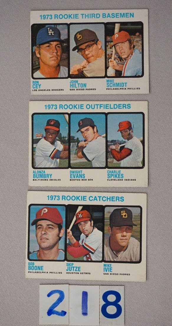 (3) 1973 TOPPS BASEBALL ROOKIE CARDS