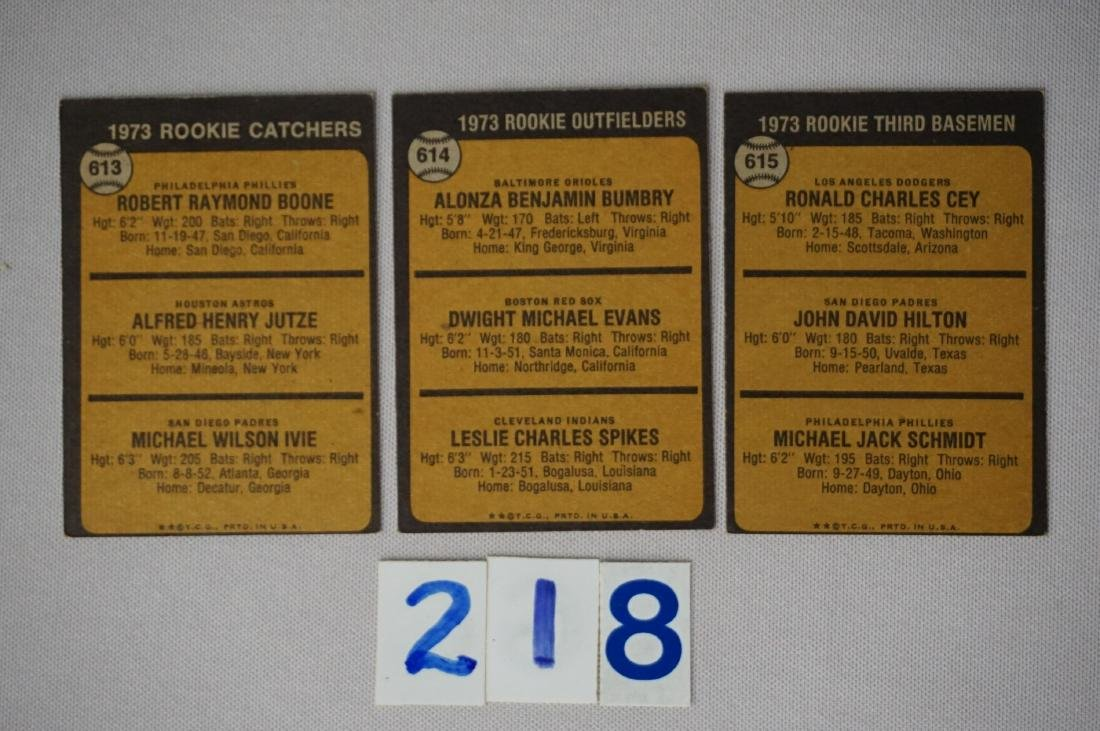 (3) 1973 TOPPS BASEBALL ROOKIE CARDS - 2