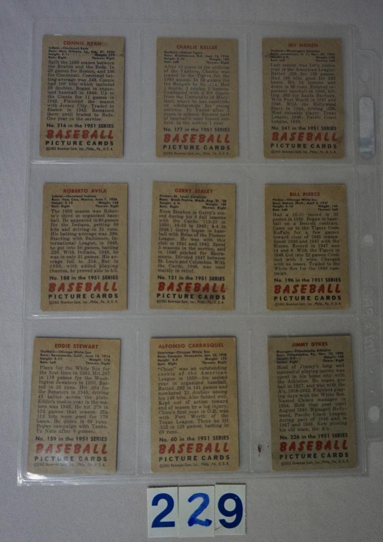 (9 DIFF.) 1951 BOWMAN BASEBALL CARDS: - 2