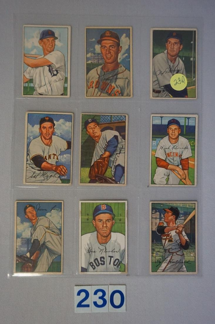 (9 DIFF.) 1952 BOWMAN BASEBALL CARDS: