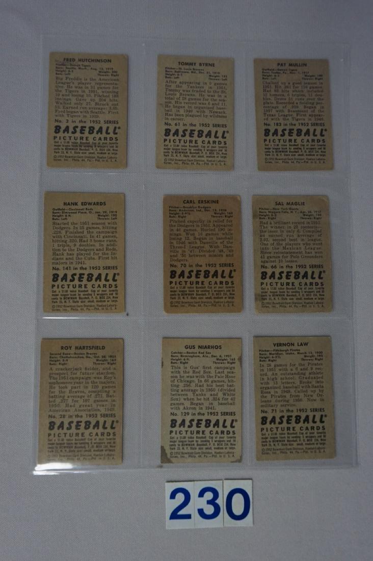 (9 DIFF.) 1952 BOWMAN BASEBALL CARDS: - 2