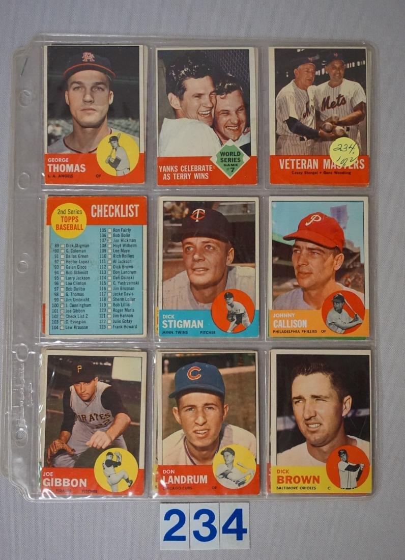 (18 DIFF.) 1963 TOPPS BASEBALL CARDS