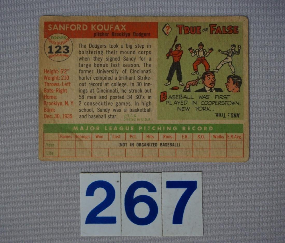 1955 TOPPS #123 SANDY KOUFAX (R), - 2