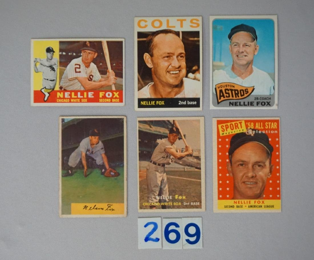 NELLIE FOX (6 DIFF.) CARDS: