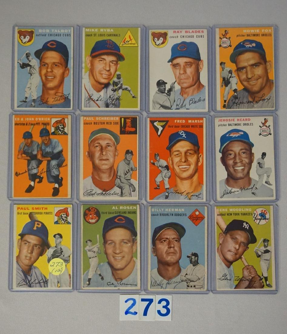 (12) 1954 TOPPS BASEBALL CARDS: