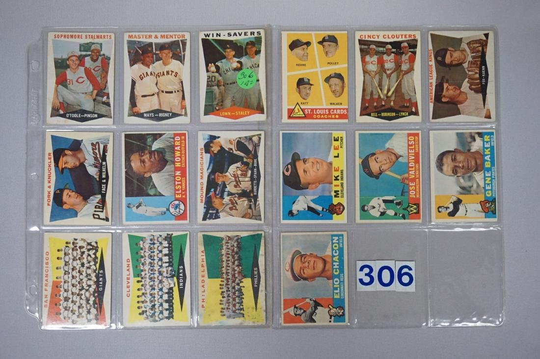 (16 DIFF.) 1960 TOPPS BASEBALL CARDS