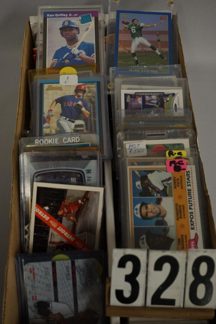 TWO ROW BOX OF MIXED SPORTS CARDS - 3