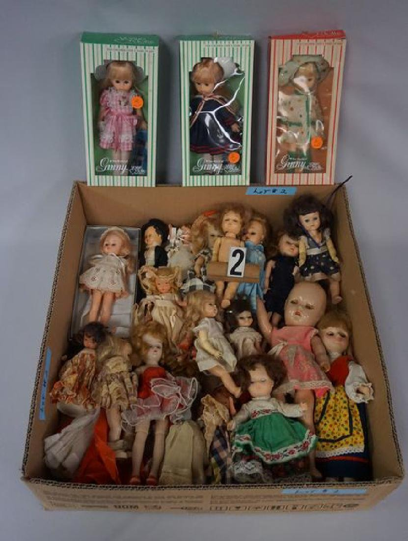 GRAB BOX OF MOSTLY SMALLER DOLLS