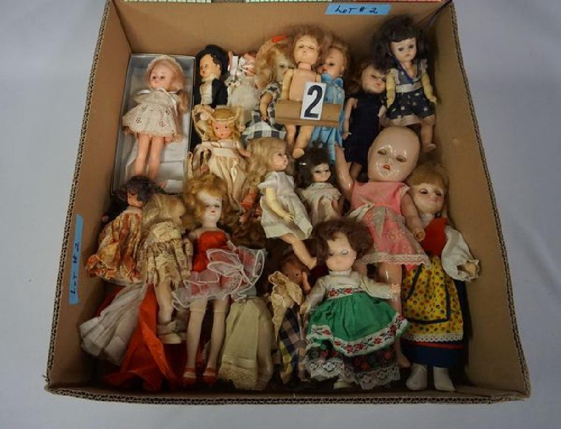 GRAB BOX OF MOSTLY SMALLER DOLLS - 2