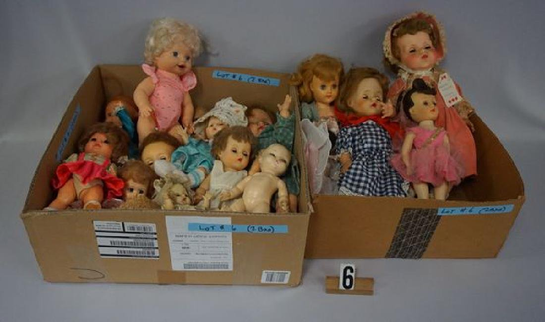 (2) BOX LOTS OF ASSORTED DOLLS,