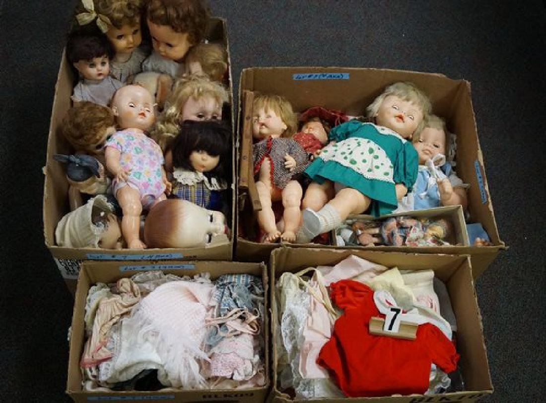 (2) BOX LOTS OF ASSORTED VINYL DOLLS