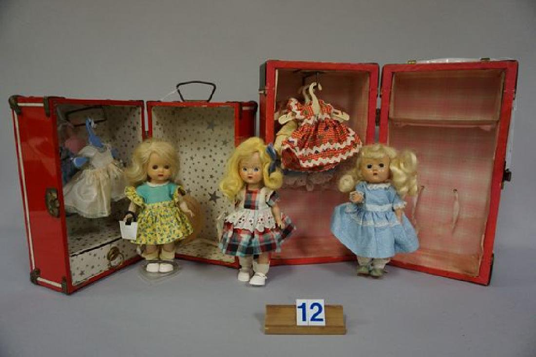 RED DOLL TRUNK WITH (2) STORY BOOK DOLLS