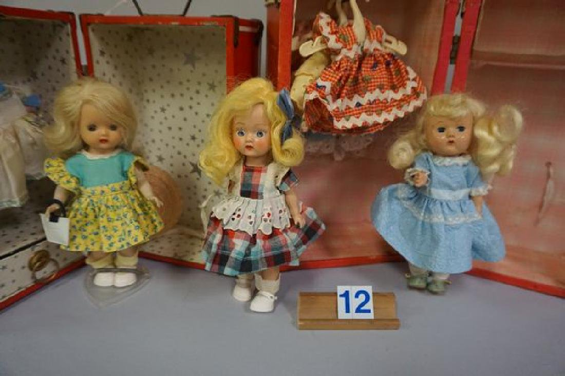 RED DOLL TRUNK WITH (2) STORY BOOK DOLLS - 2