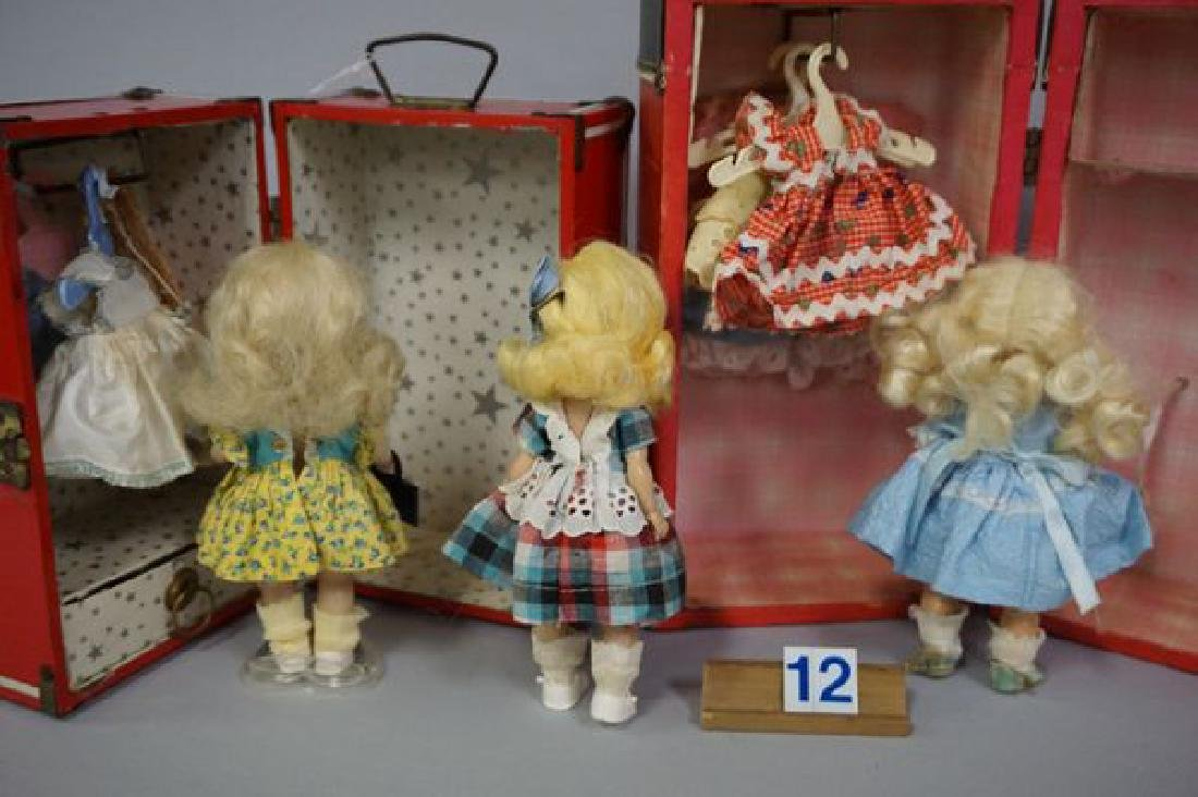 RED DOLL TRUNK WITH (2) STORY BOOK DOLLS - 3