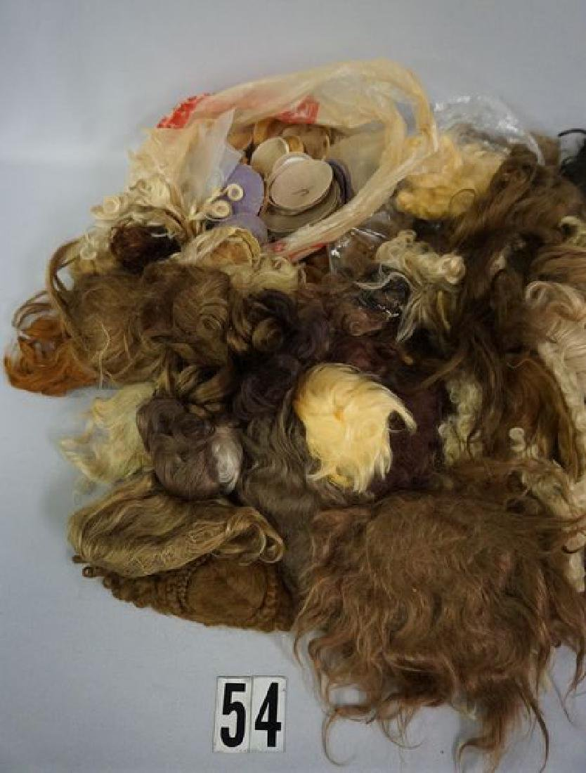 BOX OF DOLL WIGS & PATES - 2