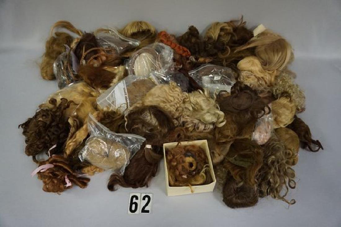 BOX OF DOLL WIGS & PATES
