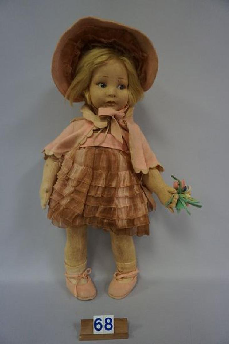LENCI 21 INCH GIRL IN PINK WITH BONNET