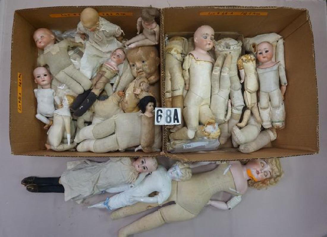 BOX LOT OF ANTIQUE KID LEATHER DOLL