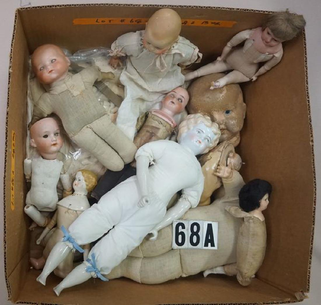 BOX LOT OF ANTIQUE KID LEATHER DOLL - 2