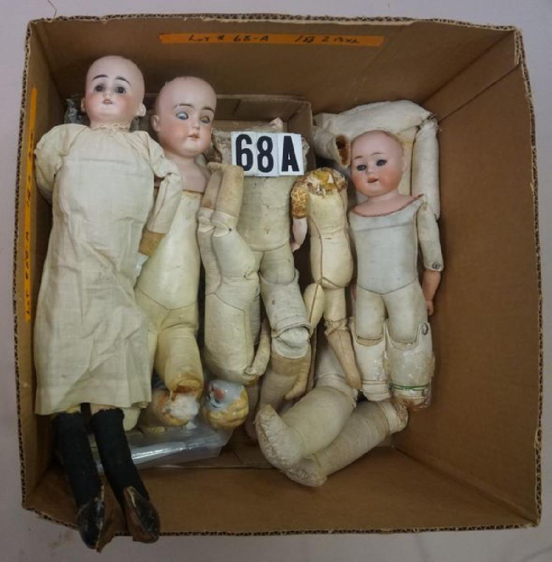 BOX LOT OF ANTIQUE KID LEATHER DOLL - 3