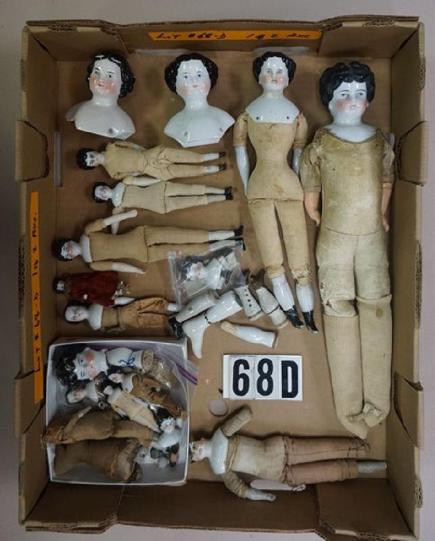 BOX LOT OF ASSORTED CHINA HEAD DOLLS - 2
