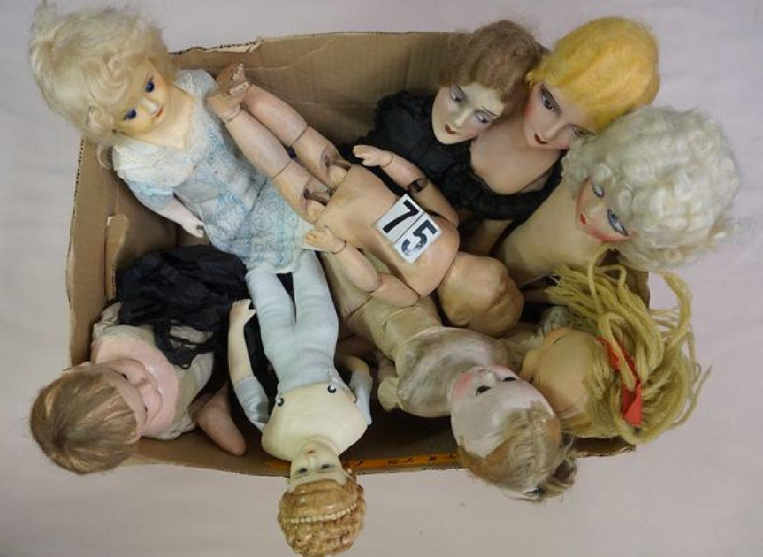 (9 PIECES): (3) BED DOLLS, (1) HELOISE CLOTH
