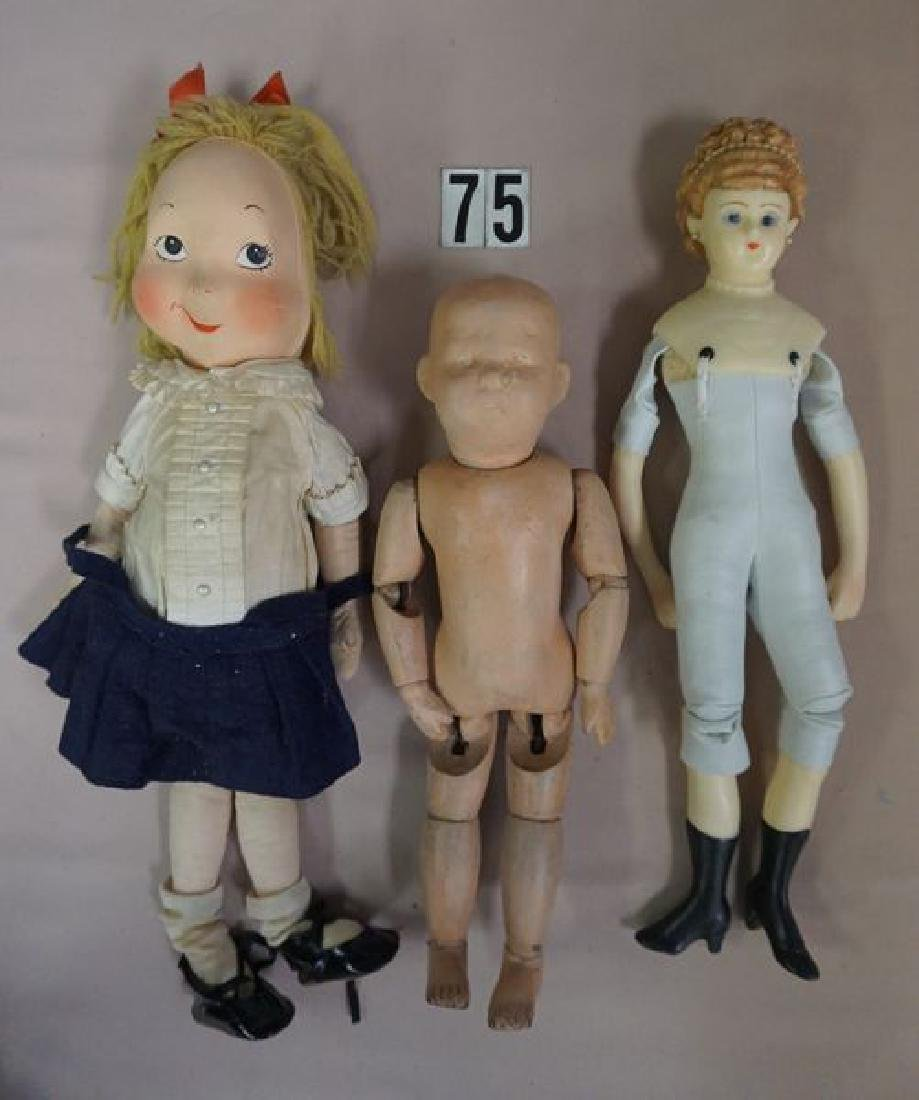 (9 PIECES): (3) BED DOLLS, (1) HELOISE CLOTH - 6