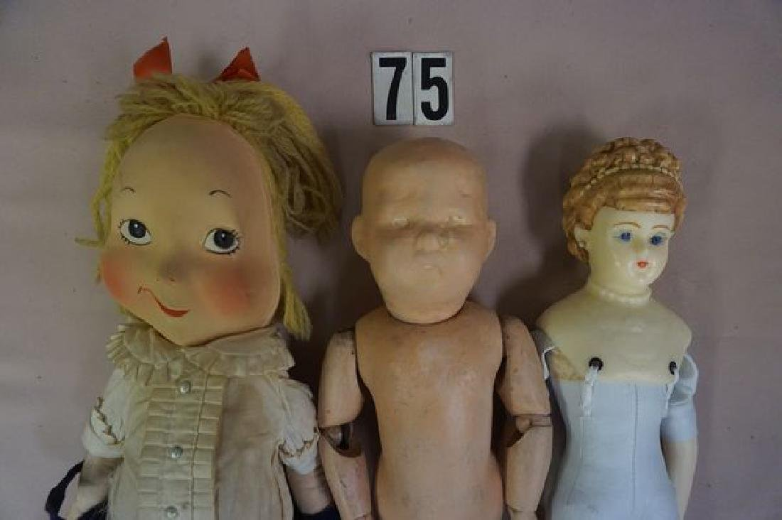 (9 PIECES): (3) BED DOLLS, (1) HELOISE CLOTH - 7
